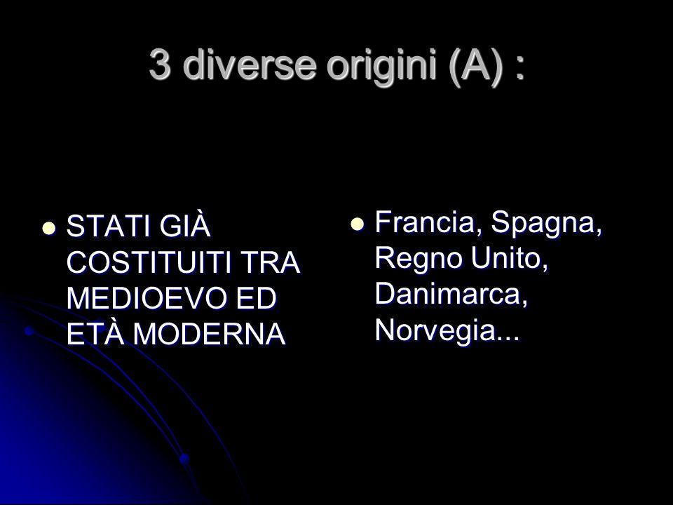 3 diverse origini (A) : STATI GIÀ COSTITUITI TRA MEDIOEVO ED ETÀ MODERNA.