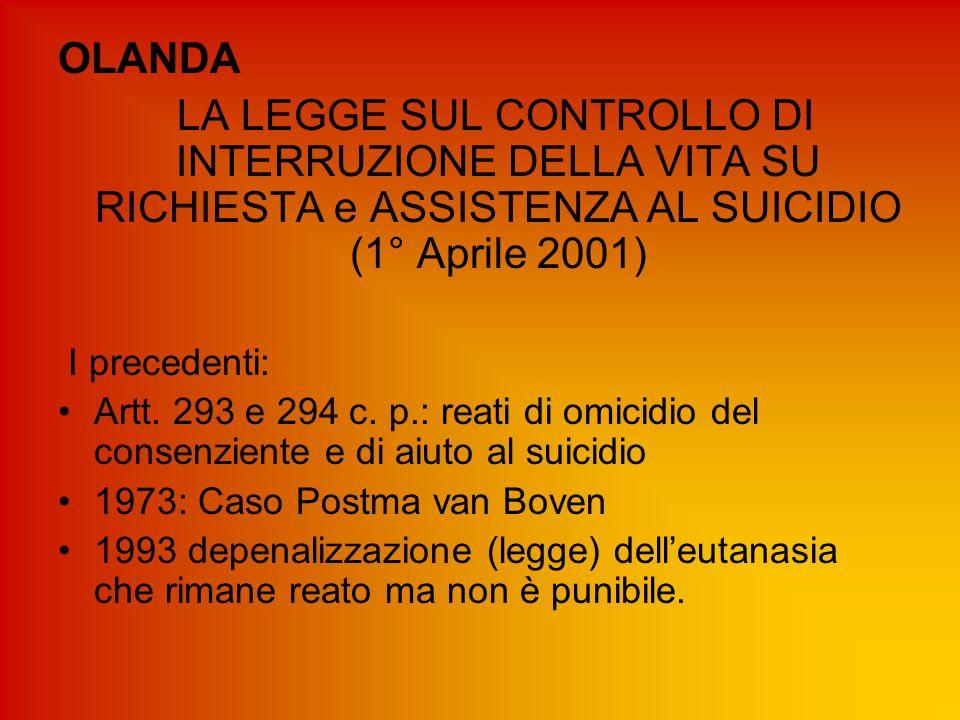OLANDA LA LEGGE SUL CONTROLLO DI INTERRUZIONE DELLA VITA SU RICHIESTA e ASSISTENZA AL SUICIDIO (1° Aprile 2001)