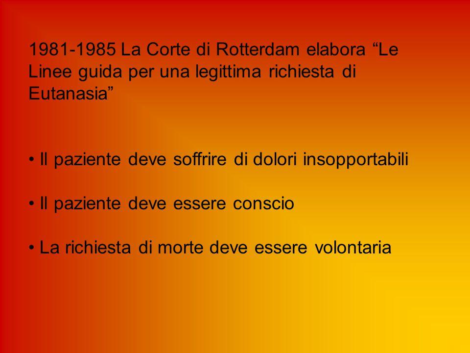 1981-1985 La Corte di Rotterdam elabora Le Linee guida per una legittima richiesta di Eutanasia