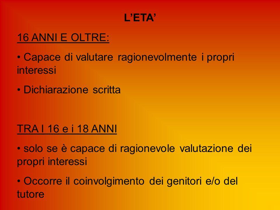 L'ETA' 16 ANNI E OLTRE: Capace di valutare ragionevolmente i propri interessi. Dichiarazione scritta.