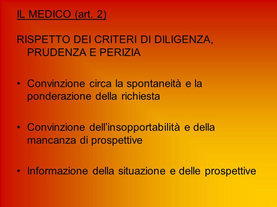 IL MEDICO (art. 2) RISPETTO DEI CRITERI DI DILIGENZA, PRUDENZA E PERIZIA. Convinzione circa la spontaneità e la ponderazione della richiesta.