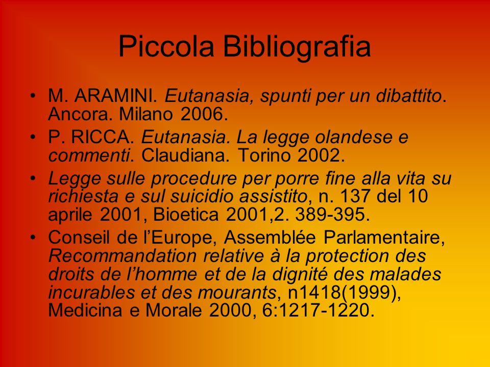Piccola Bibliografia M. ARAMINI. Eutanasia, spunti per un dibattito. Ancora. Milano 2006.