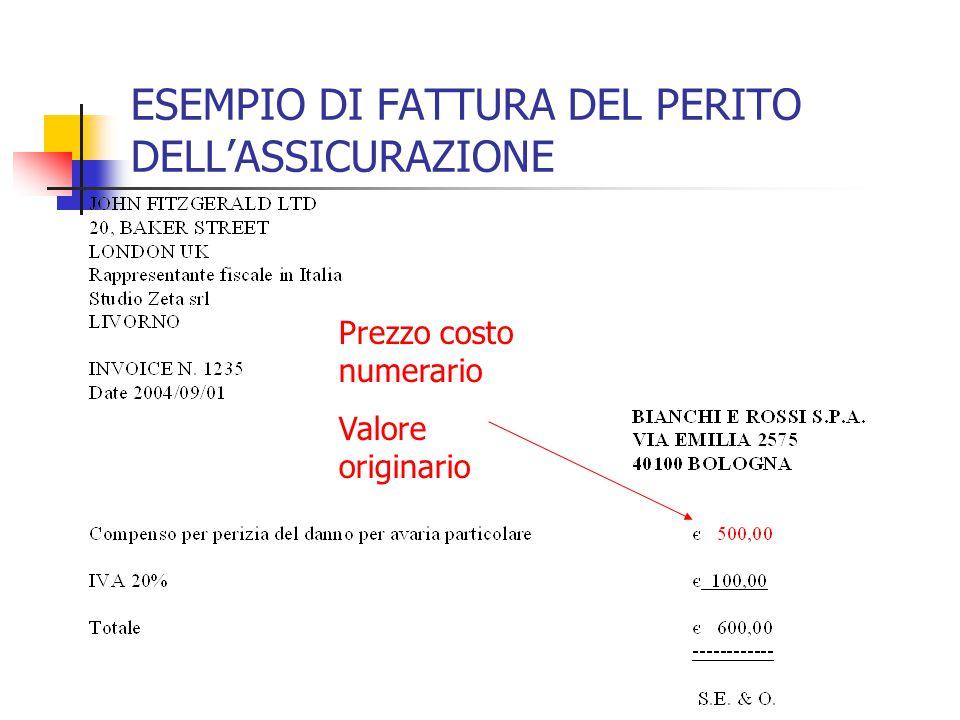 ESEMPIO DI FATTURA DEL PERITO DELL'ASSICURAZIONE