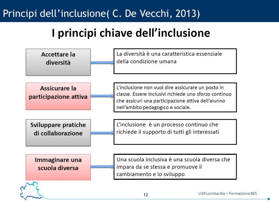 Principi dell'inclusione( C. De Vecchi, 2013)
