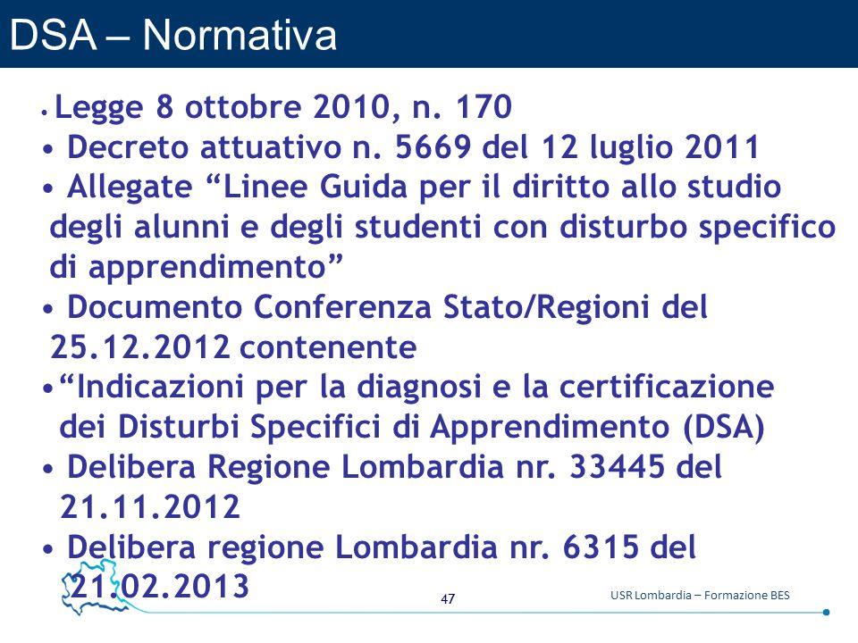 DSA – Normativa Decreto attuativo n. 5669 del 12 luglio 2011