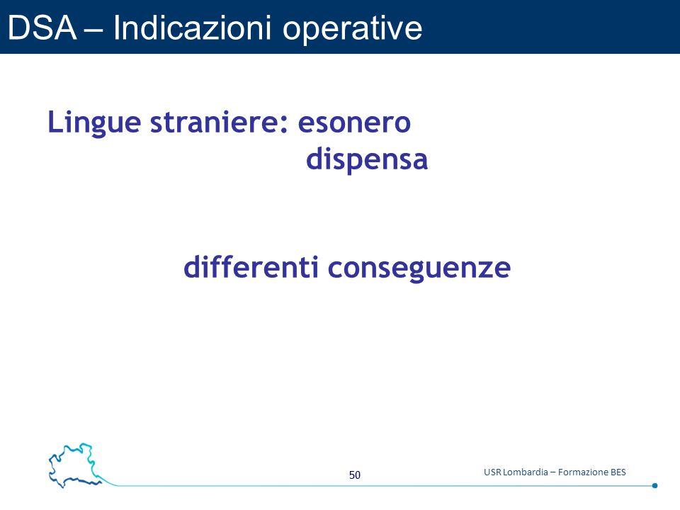 DSA – Indicazioni operative