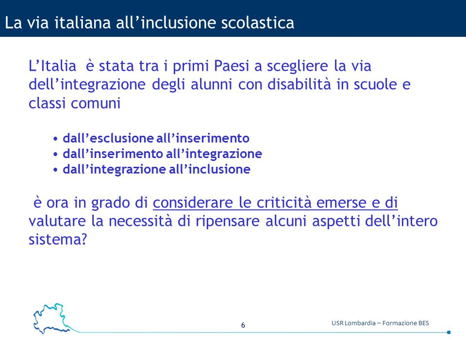 La via italiana all'inclusione scolastica