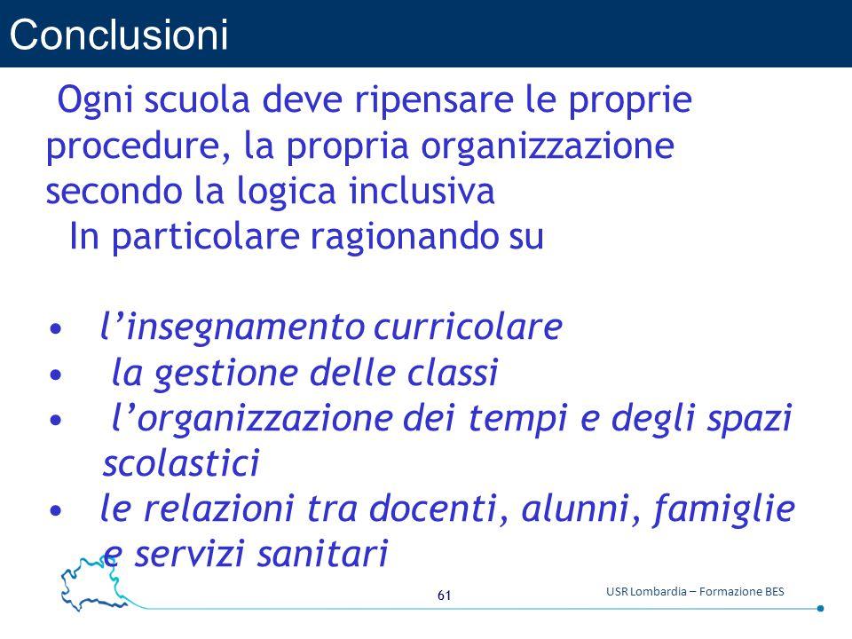 Conclusioni Ogni scuola deve ripensare le proprie procedure, la propria organizzazione secondo la logica inclusiva.
