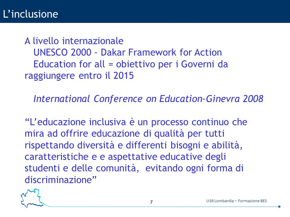 L'inclusione A livello internazionale