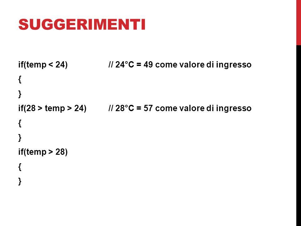 suggerimenti if(temp < 24) // 24°C = 49 come valore di ingresso { } if(28 > temp > 24) // 28°C = 57 come valore di ingresso if(temp > 28)
