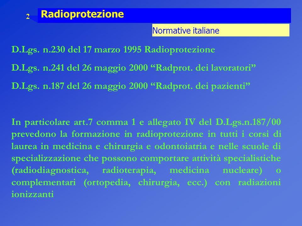 D.Lgs. n.230 del 17 marzo 1995 Radioprotezione