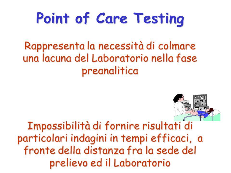 Point of Care Testing Rappresenta la necessità di colmare una lacuna del Laboratorio nella fase preanalitica.
