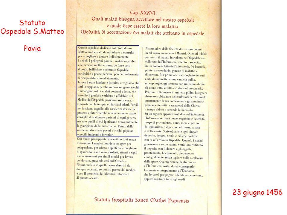 Statuto Ospedale S.Matteo Pavia 23 giugno 1456