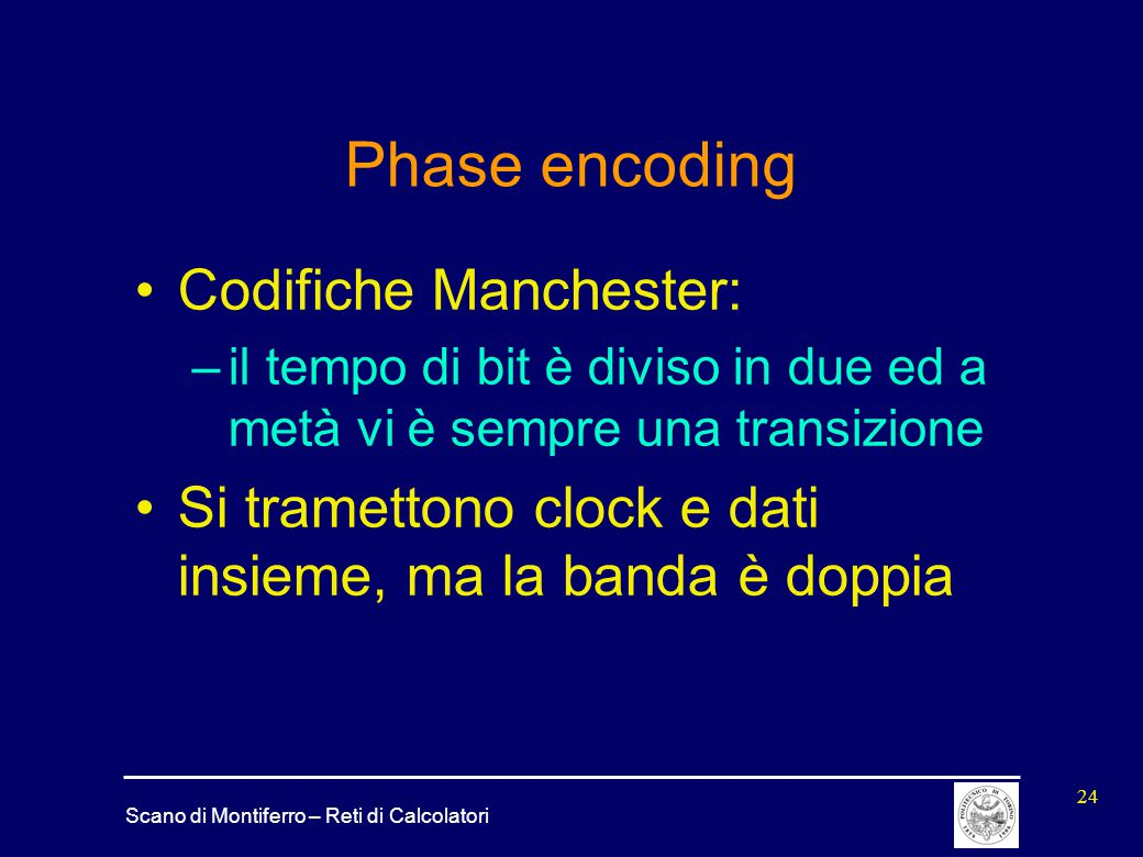 Phase encoding Codifiche Manchester:
