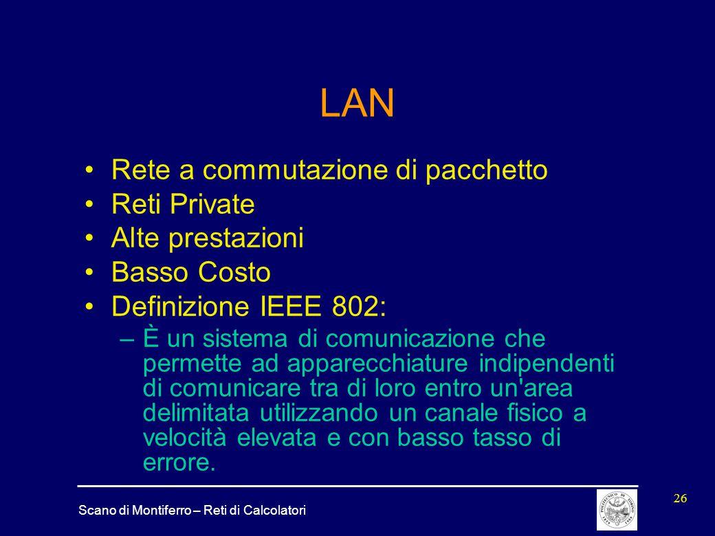 LAN Rete a commutazione di pacchetto Reti Private Alte prestazioni