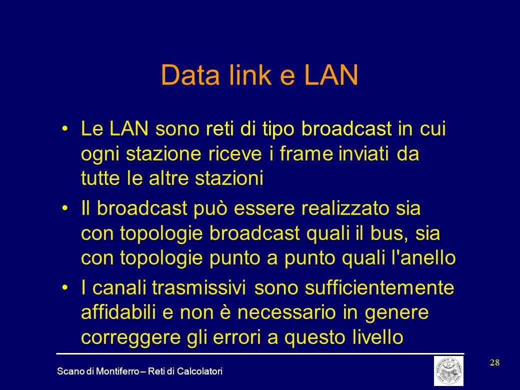 Data link e LAN Le LAN sono reti di tipo broadcast in cui ogni stazione riceve i frame inviati da tutte le altre stazioni.