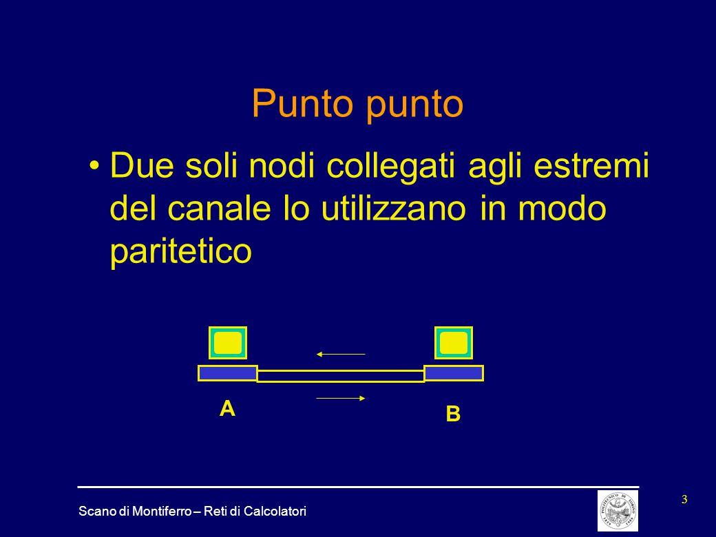 Punto punto Due soli nodi collegati agli estremi del canale lo utilizzano in modo paritetico A B