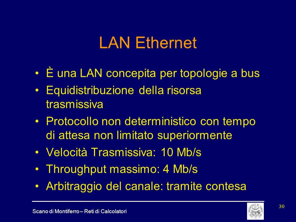 LAN Ethernet È una LAN concepita per topologie a bus