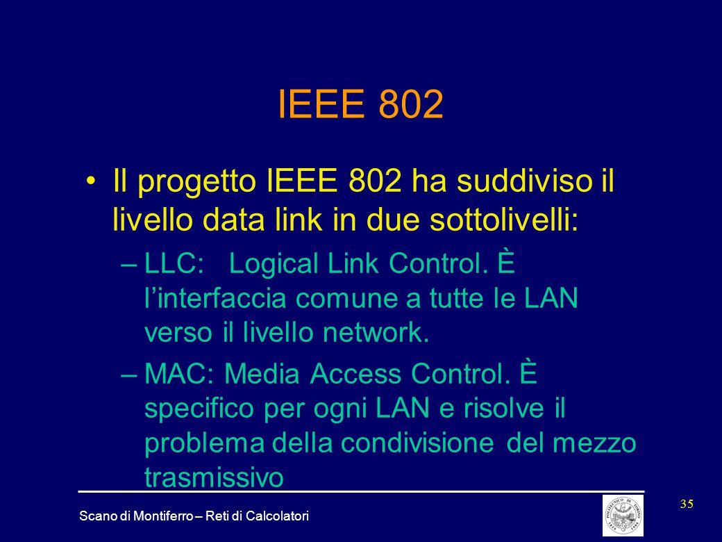 IEEE 802 Il progetto IEEE 802 ha suddiviso il livello data link in due sottolivelli: