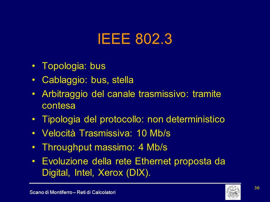IEEE 802.3 Topologia: bus Cablaggio: bus, stella