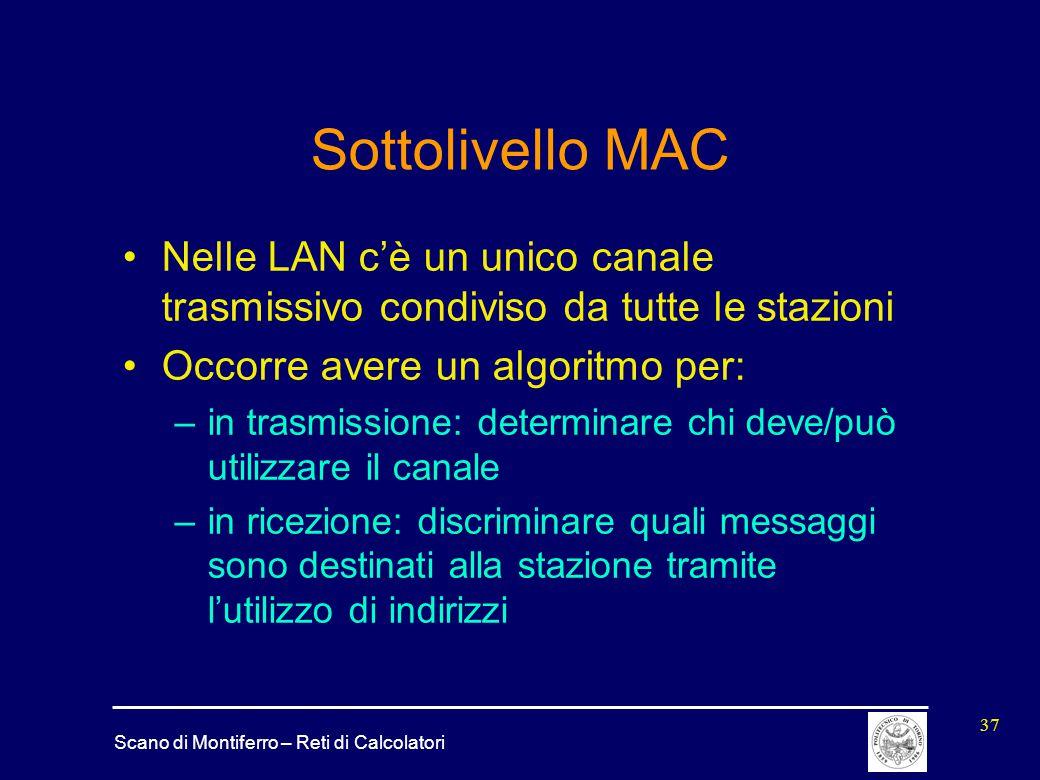 Sottolivello MAC Nelle LAN c'è un unico canale trasmissivo condiviso da tutte le stazioni. Occorre avere un algoritmo per: