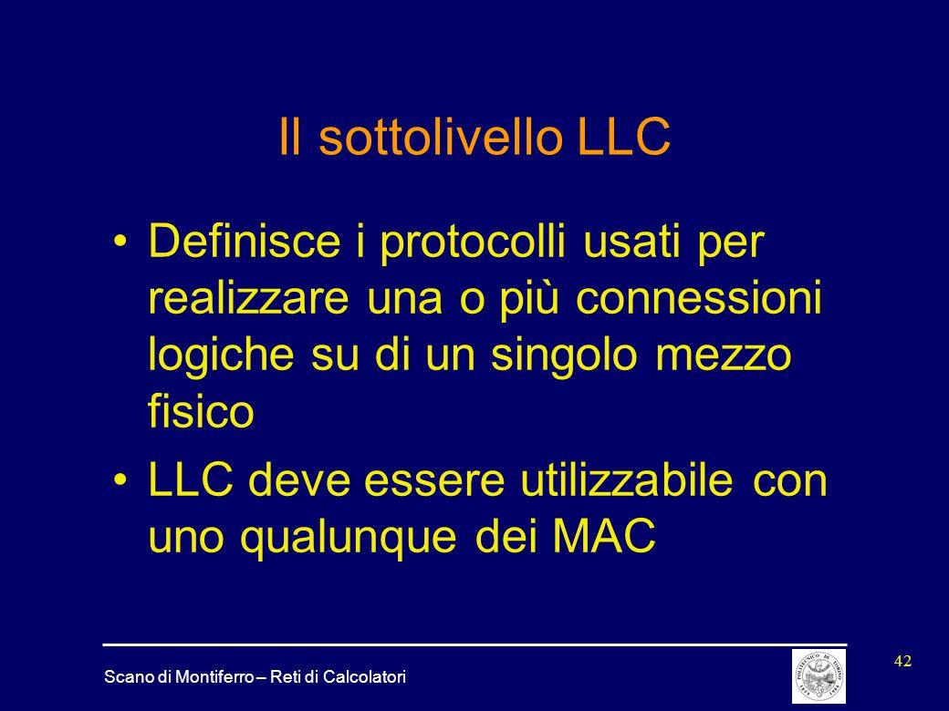 Il sottolivello LLC Definisce i protocolli usati per realizzare una o più connessioni logiche su di un singolo mezzo fisico.