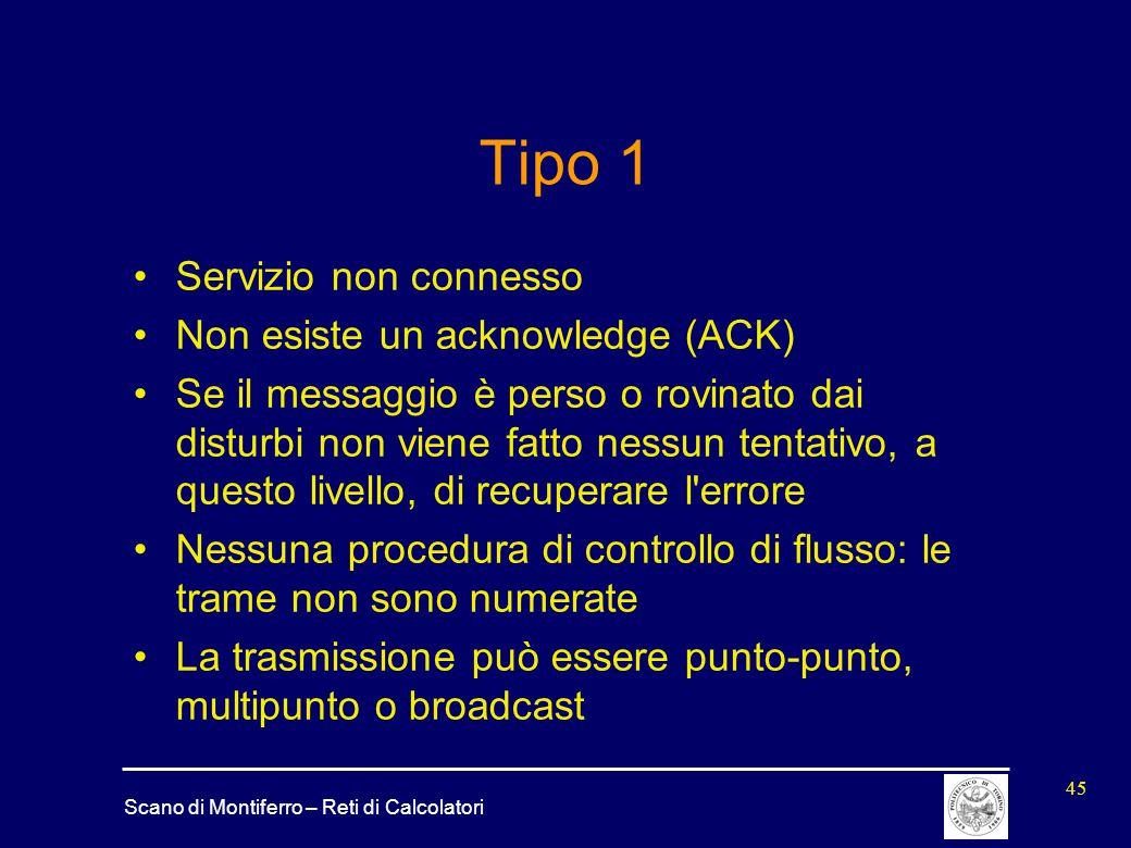 Tipo 1 Servizio non connesso Non esiste un acknowledge (ACK)