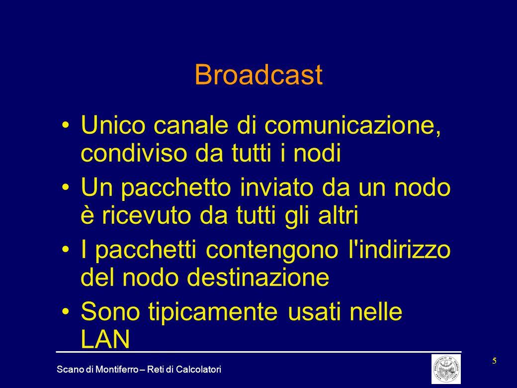 Broadcast Unico canale di comunicazione, condiviso da tutti i nodi