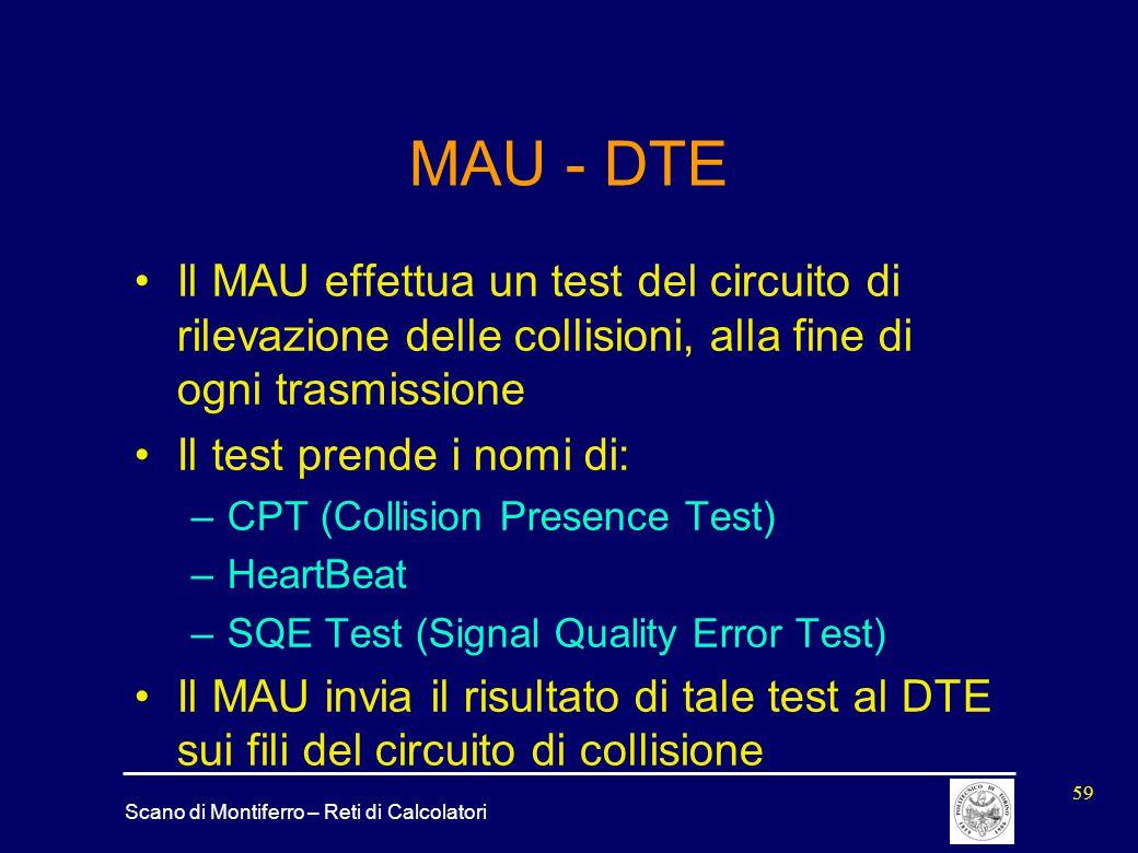 MAU - DTE Il MAU effettua un test del circuito di rilevazione delle collisioni, alla fine di ogni trasmissione.
