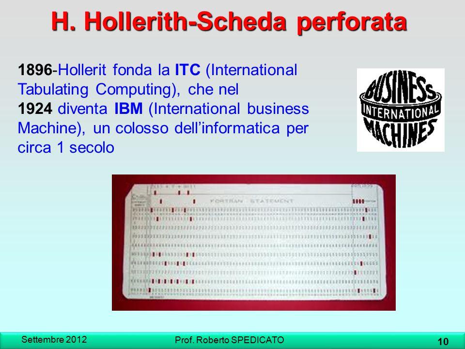 H. Hollerith-Scheda perforata