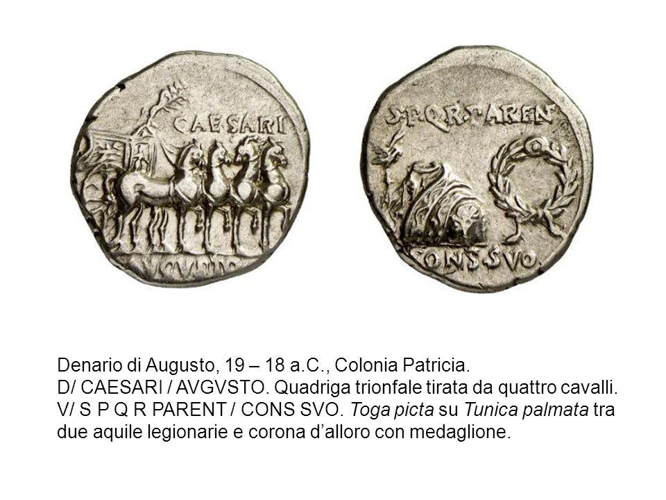 Denario di Augusto, 19 – 18 a.C., Colonia Patricia.