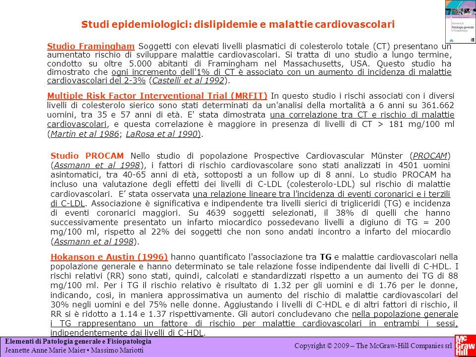 Studi epidemiologici: dislipidemie e malattie cardiovascolari