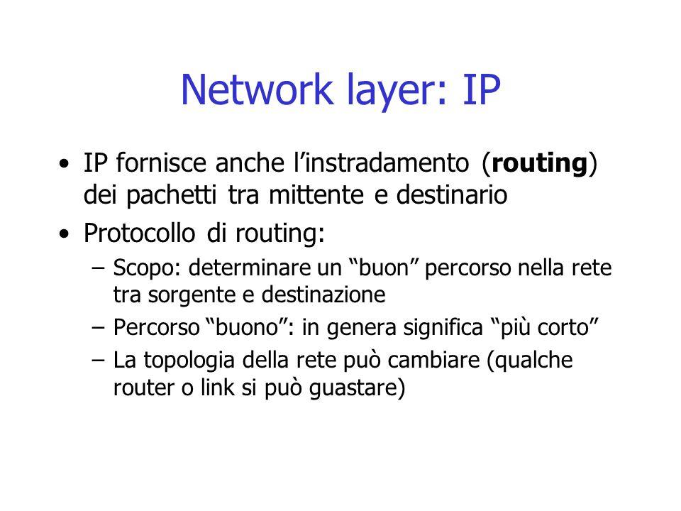 Network layer: IP IP fornisce anche l'instradamento (routing) dei pachetti tra mittente e destinario.