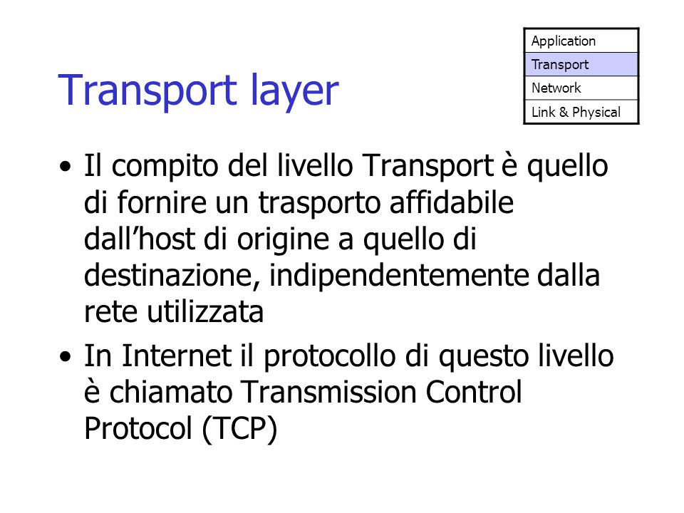 Application Transport. Network. Link & Physical. Transport layer.