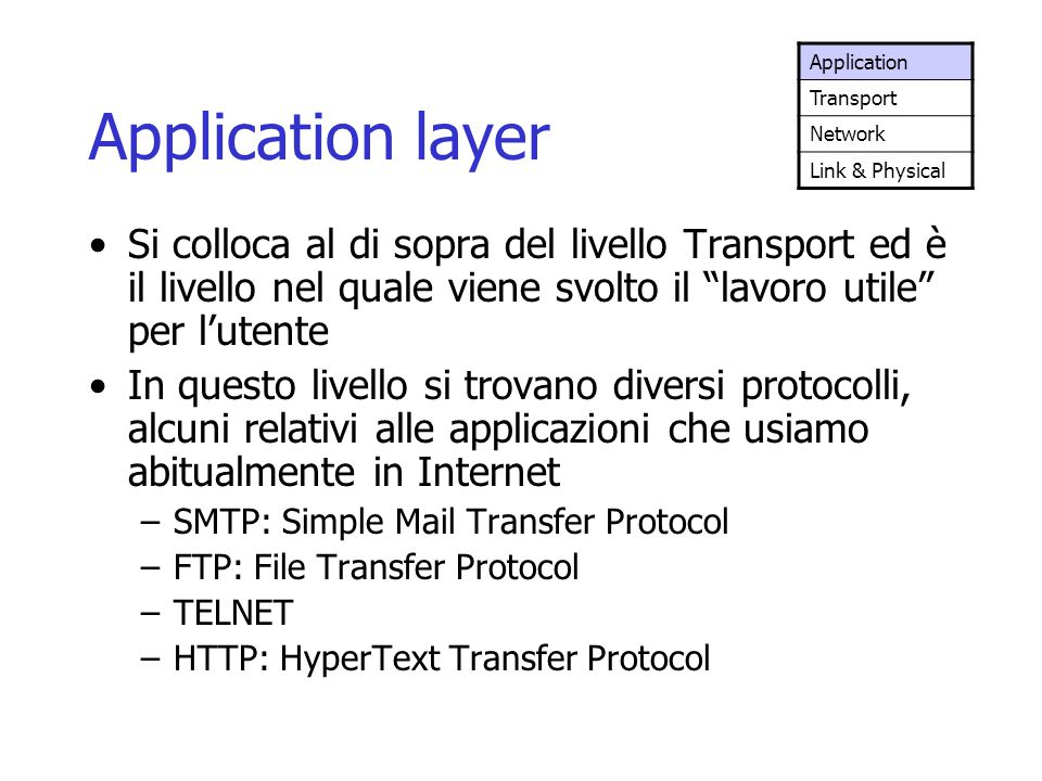 Application Transport. Network. Link & Physical. Application layer.