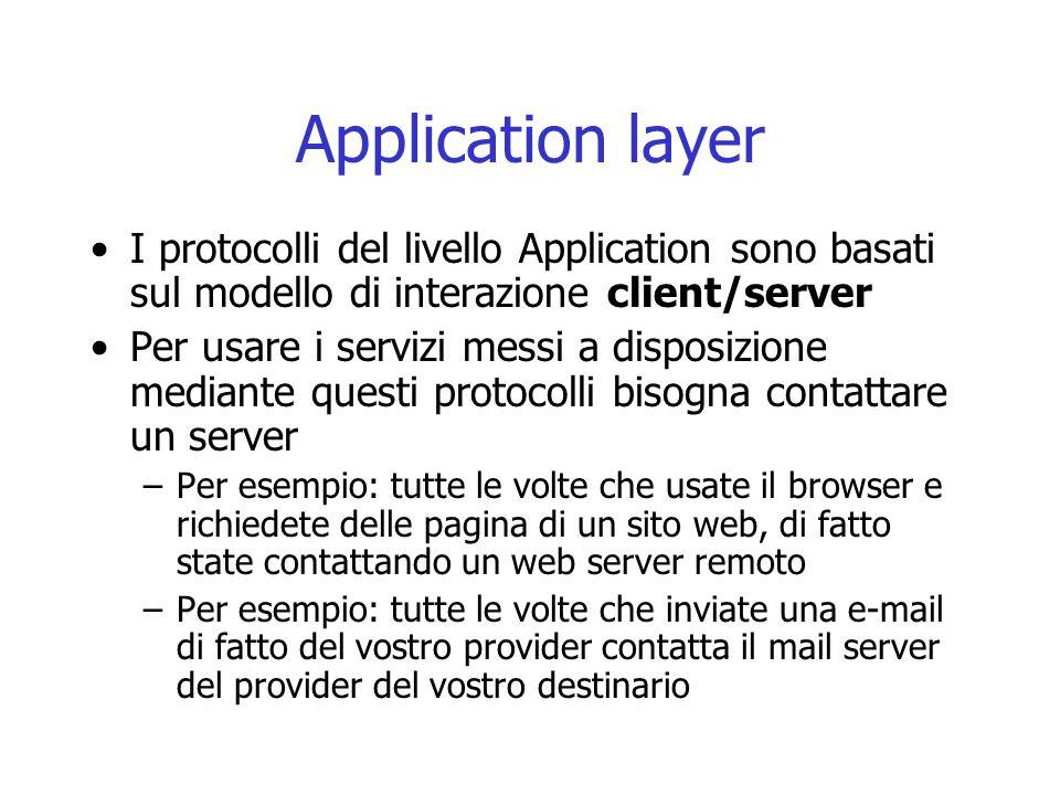 Application layer I protocolli del livello Application sono basati sul modello di interazione client/server.