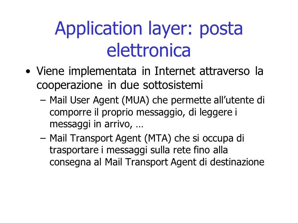 Application layer: posta elettronica
