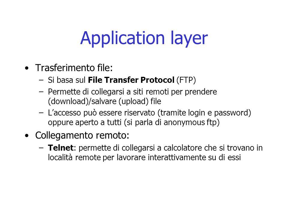 Application layer Trasferimento file: Collegamento remoto: