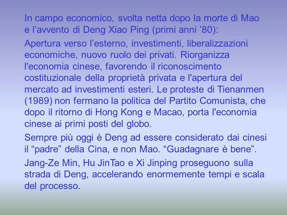In campo economico, svolta netta dopo la morte di Mao e l'avvento di Deng Xiao Ping (primi anni '80):