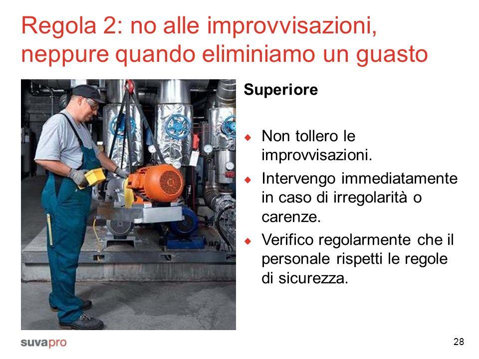 Regola 2: no alle improvvisazioni, neppure quando eliminiamo un guasto