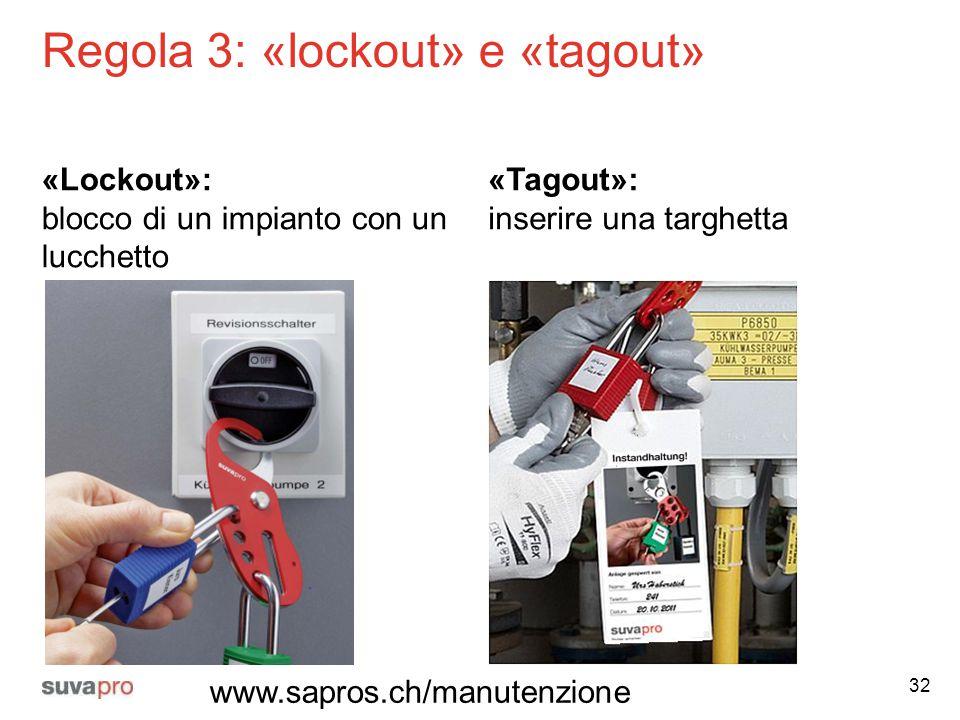 Regola 3: «lockout» e «tagout»