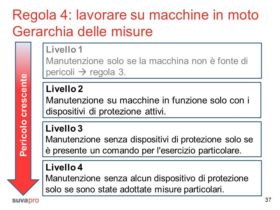Regola 4: lavorare su macchine in moto Gerarchia delle misure