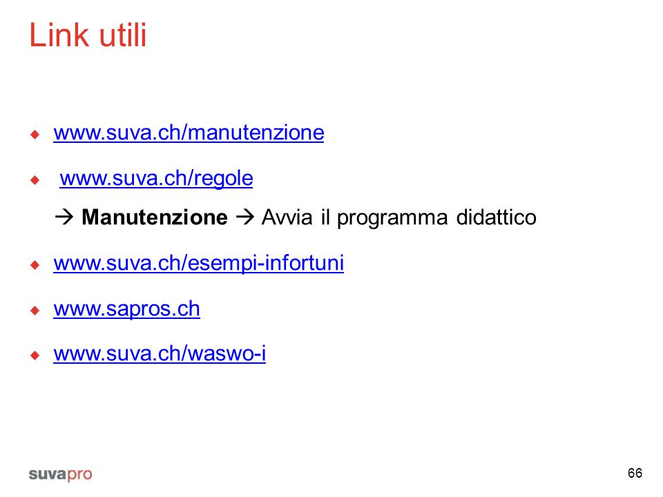 Link utili www.suva.ch/manutenzione