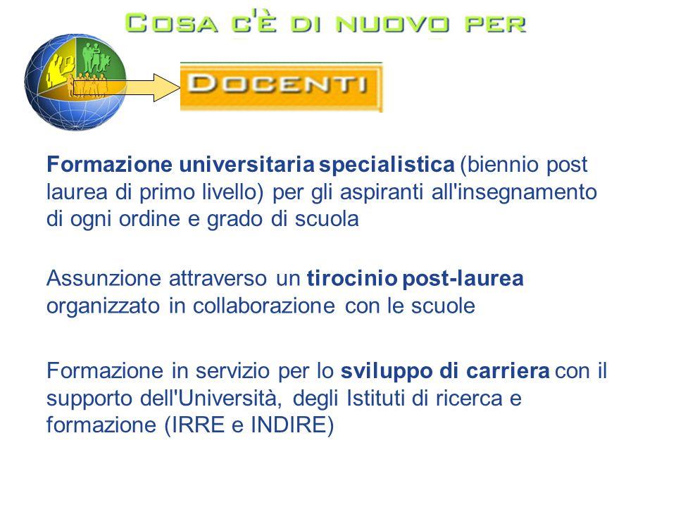 Formazione universitaria specialistica (biennio post laurea di primo livello) per gli aspiranti all insegnamento di ogni ordine e grado di scuola