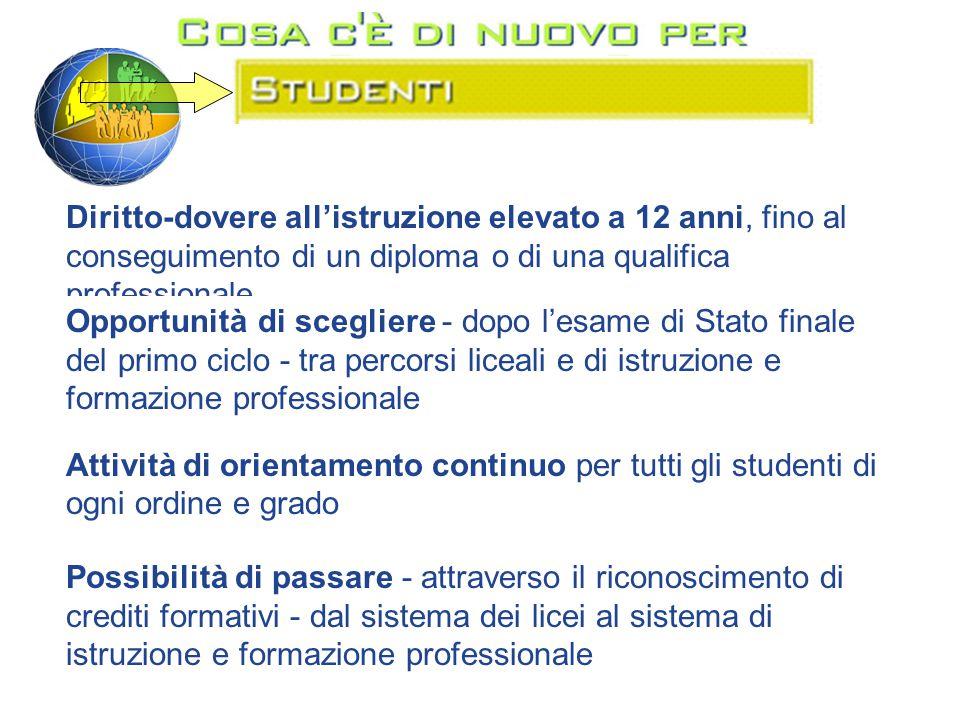 Diritto-dovere all'istruzione elevato a 12 anni, fino al conseguimento di un diploma o di una qualifica professionale