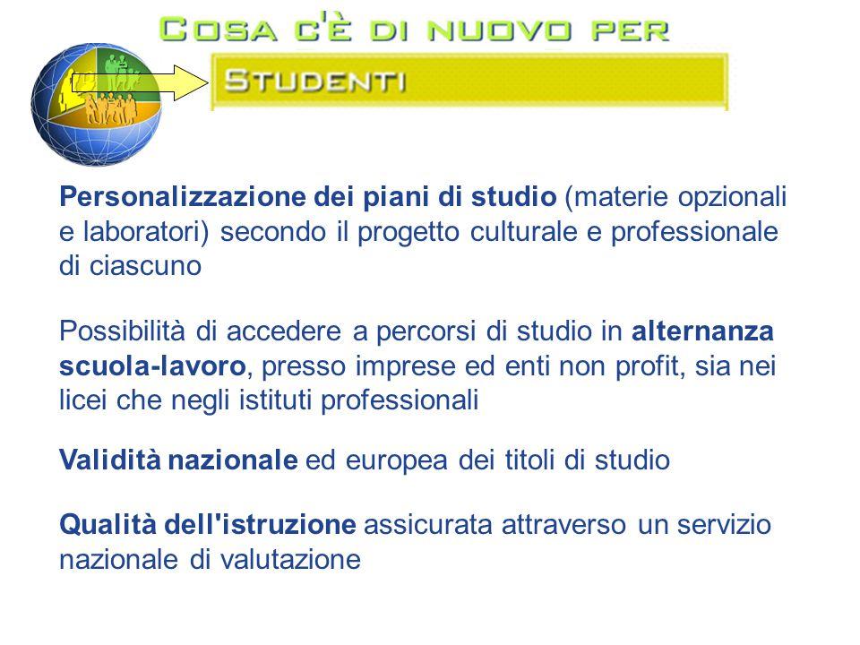 Personalizzazione dei piani di studio (materie opzionali e laboratori) secondo il progetto culturale e professionale di ciascuno