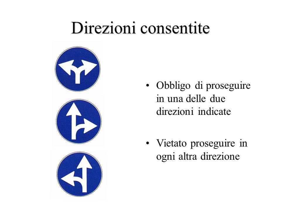 Direzioni consentite Obbligo di proseguire in una delle due direzioni indicate.