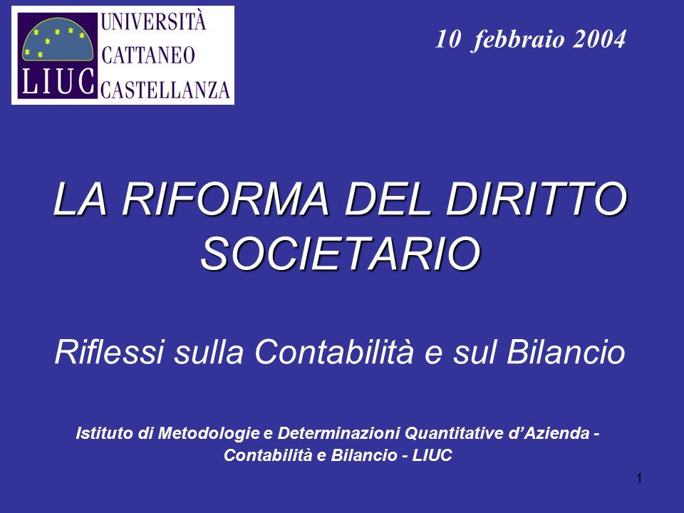 10 febbraio 2004 LA RIFORMA DEL DIRITTO SOCIETARIO Riflessi sulla Contabilità e sul Bilancio.