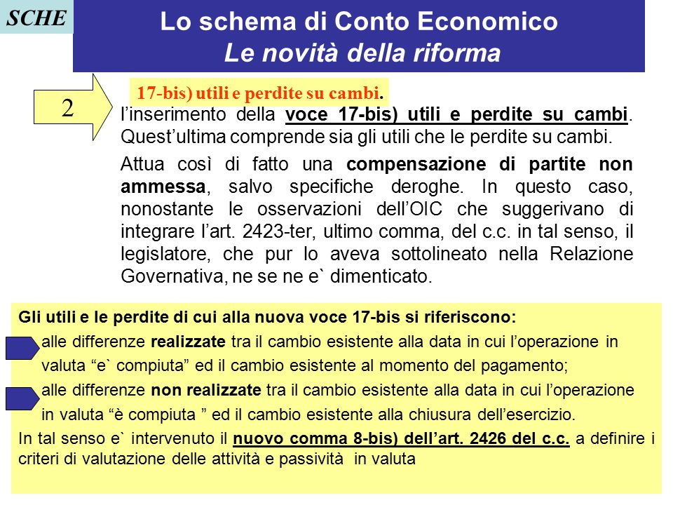 Lo schema di Conto Economico Le novità della riforma