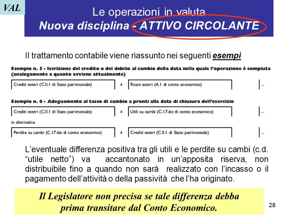 Le operazioni in valuta Nuova disciplina - ATTIVO CIRCOLANTE